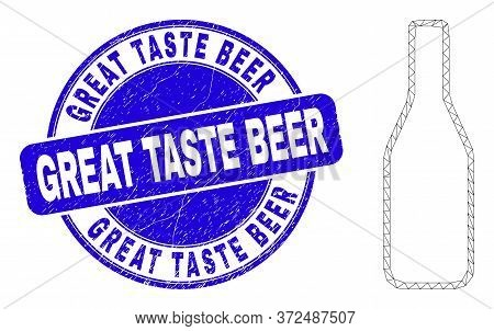 Web Mesh Beer Bottle Icon And Great Taste Beer Seal Stamp. Blue Vector Rounded Distress Stamp With G