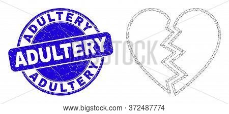 Web Mesh Broken Heart Icon And Adultery Stamp. Blue Vector Round Distress Seal Stamp With Adultery T