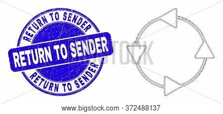 Web Mesh Ccw Circulation Arrows Pictogram And Return To Sender Seal. Blue Vector Round Textured Seal