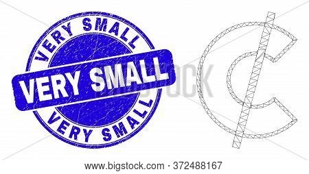 Web Carcass Cent Pictogram And Very Small Seal Stamp. Blue Vector Rounded Textured Seal Stamp With V