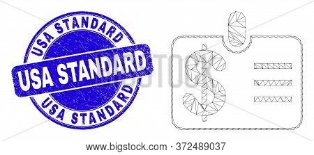 Web Mesh Dollar Badge Pictogram And Usa Standard Seal Stamp. Blue Vector Round Distress Seal Stamp W