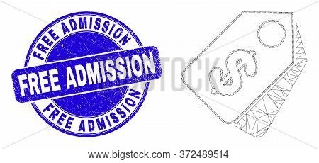 Web Carcass Dollar Tags Icon And Free Admission Seal. Blue Vector Rounded Distress Seal With Free Ad