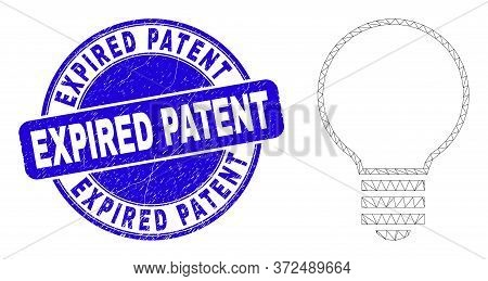 Web Carcass Electric Bulb Pictogram And Expired Patent Seal. Blue Vector Round Distress Seal Stamp W