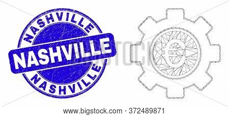Web Carcass Euro Gear Icon And Nashville Seal. Blue Vector Rounded Grunge Seal Stamp With Nashville