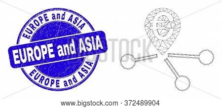 Web Mesh Euro Location Links Icon And Europe And Asia Stamp. Blue Vector Rounded Textured Stamp With