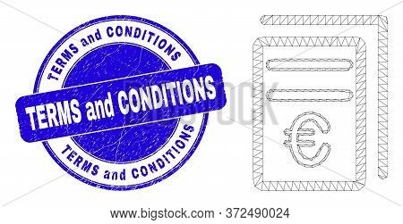 Web Carcass Euro Price Pages Pictogram And Terms And Conditions Stamp. Blue Vector Round Distress Se