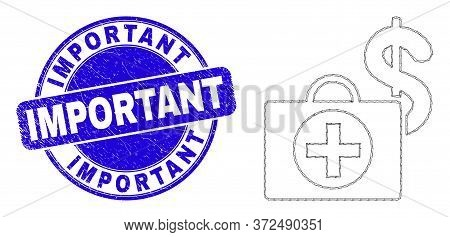 Web Mesh Financial Medical Case Icon And Important Stamp. Blue Vector Round Scratched Stamp With Imp