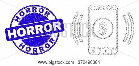 Web Mesh Financial Smartphone Vibration Icon And Horror Stamp. Blue Vector Round Grunge Seal Stamp W