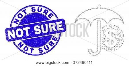Web Mesh Financial Umbrella Icon And Not Sure Watermark. Blue Vector Round Textured Watermark With N