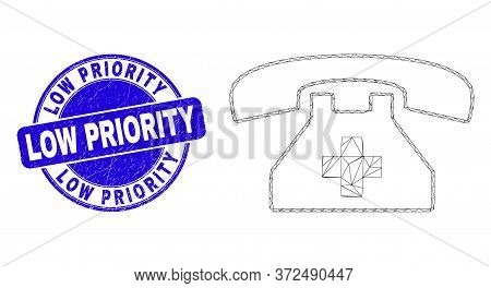 Web Mesh First Aid Phone Icon And Low Priority Seal Stamp. Blue Vector Rounded Grunge Stamp With Low
