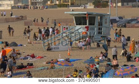 Santa Monica Beach Is A Busy Place In Summer - Los Angeles, United States - March 29, 2019
