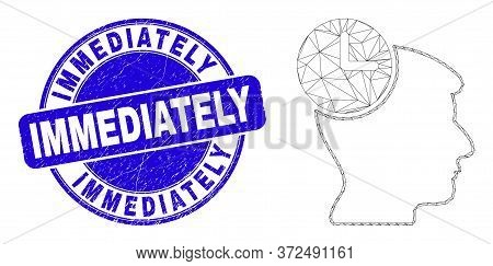 Web Mesh Head Clock Icon And Immediately Watermark. Blue Vector Round Grunge Watermark With Immediat