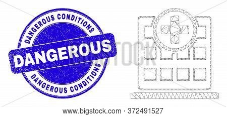 Web Mesh Hospital Building Icon And Dangerous Conditions Seal. Blue Vector Round Distress Seal Stamp