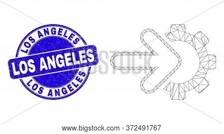 Web Mesh Integration Gear Icon And Los Angeles Seal Stamp. Blue Vector Rounded Distress Seal Stamp W