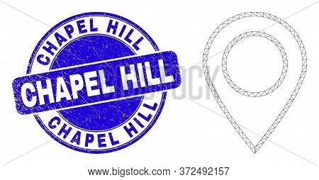 Web Mesh Map Marker Pictogram And Chapel Hill Stamp. Blue Vector Rounded Grunge Seal Stamp With Chap