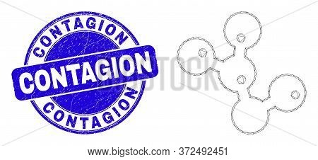 Web Carcass Microbes Icon And Contagion Seal. Blue Vector Rounded Grunge Seal With Contagion Text. A