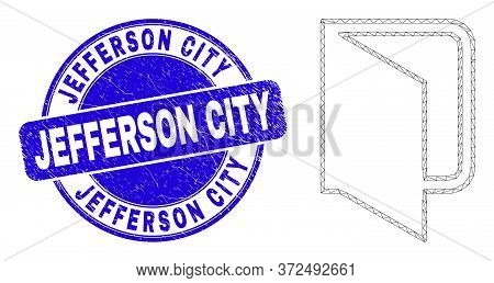 Web Mesh Open Folder Icon And Jefferson City Seal Stamp. Blue Vector Round Distress Seal With Jeffer
