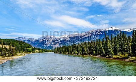 The Athabasca River Seen From The Bridge Of Maligne Lake Road In Jasper National Park In The Canadia