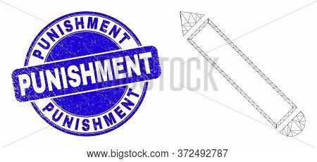 Web Carcass Pencil Pictogram And Punishment Seal. Blue Vector Rounded Scratched Seal With Punishment