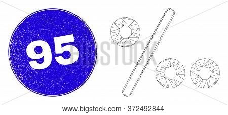 Web Mesh Per Mille Pictogram And 95 Seal Stamp. Blue Vector Round Scratched Seal Stamp With 95 Text.