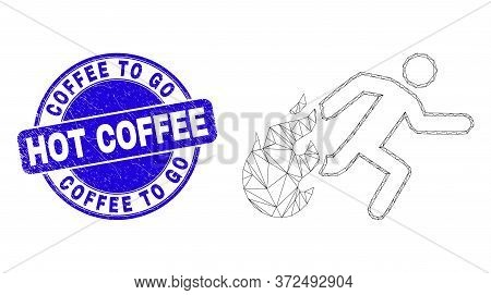 Web Carcass Person Running Away From Fire Icon And Coffee To Go Hot Coffee Watermark. Blue Vector Ro