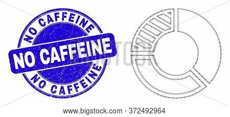 Web Mesh Pie Chart Pictogram And No Caffeine Seal Stamp. Blue Vector Round Distress Seal Stamp With