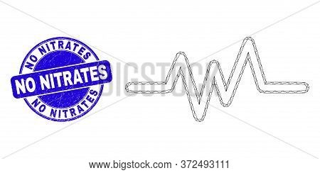 Web Mesh Pulse Signal Icon And No Nitrates Watermark. Blue Vector Round Grunge Watermark With No Nit