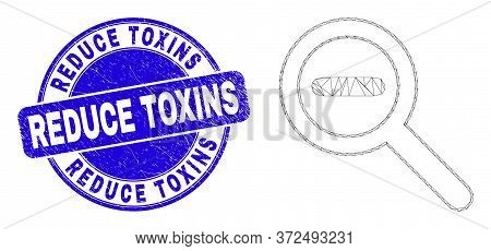 Web Mesh Reduce Scale Icon And Reduce Toxins Seal. Blue Vector Rounded Distress Seal Stamp With Redu