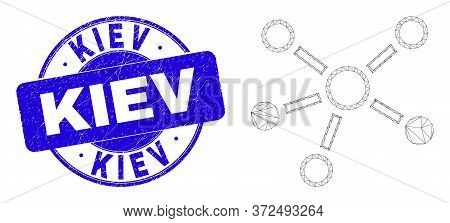 Web Carcass Relations Icon And Kiev Stamp. Blue Vector Rounded Textured Stamp With Kiev Title. Abstr