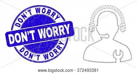 Web Carcass Repair Service Operator Icon And Dont Worry Watermark. Blue Vector Rounded Scratched Wat