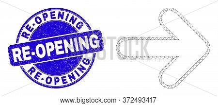 Web Mesh Right Direction Arrow Icon And Re-opening Watermark. Blue Vector Rounded Grunge Watermark W