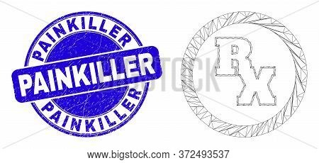 Web Mesh Rx Receipt Symbol Icon And Painkiller Seal Stamp. Blue Vector Round Scratched Seal Stamp Wi