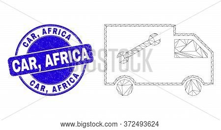Web Carcass Service Van Pictogram And Car, Africa Seal Stamp. Blue Vector Rounded Grunge Seal Stamp