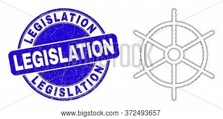 Web Mesh Ship Rule Wheel Pictogram And Legislation Stamp. Blue Vector Rounded Scratched Seal Stamp W