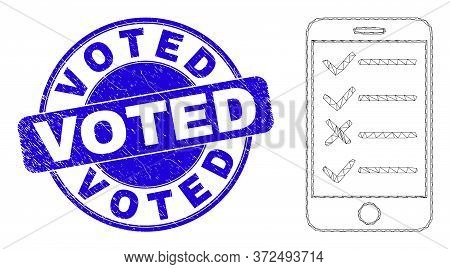 Web Mesh Smartphone Task List Icon And Voted Seal. Blue Vector Round Textured Seal With Voted Text.