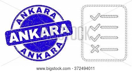 Web Mesh Task List Page Pictogram And Ankara Stamp. Blue Vector Rounded Textured Seal Stamp With Ank