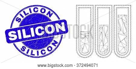 Web Mesh Test-tubes Pictogram And Silicon Stamp. Blue Vector Rounded Textured Seal Stamp With Silico