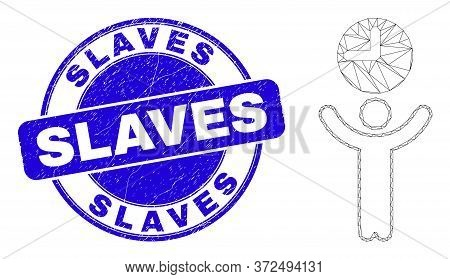 Web Mesh Time Manager Icon And Slaves Stamp. Blue Vector Rounded Scratched Stamp With Slaves Title.