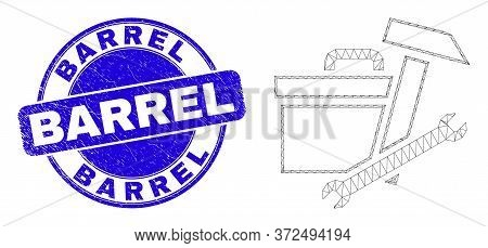 Web Mesh Toolbox Pictogram And Barrel Seal Stamp. Blue Vector Round Grunge Seal Stamp With Barrel Ca