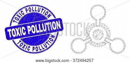 Web Carcass Toxic Nerve Agent Icon And Toxic Pollution Watermark. Blue Vector Rounded Scratched Wate