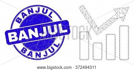 Web Mesh Trend Chart Icon And Banjul Watermark. Blue Vector Rounded Textured Seal Stamp With Banjul