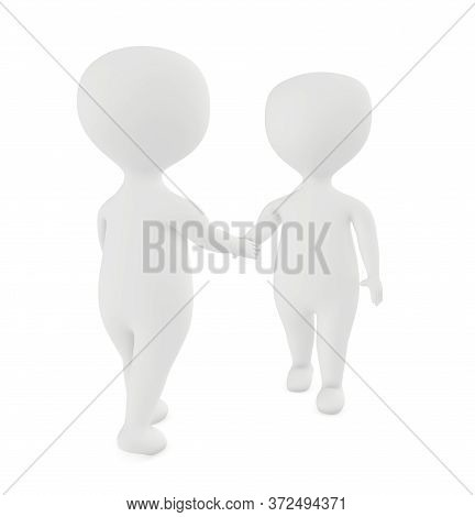 3d White Character Shake Handing Each Other - 3d Rendering