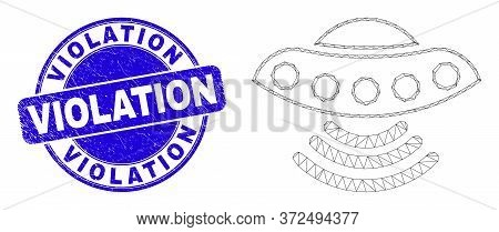 Web Mesh Ufo Pictogram And Violation Seal Stamp. Blue Vector Rounded Distress Stamp With Violation M