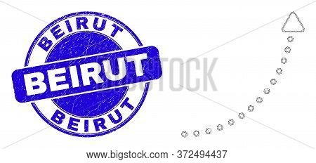 Web Mesh Up Trend Arrow Pictogram And Beirut Seal Stamp. Blue Vector Rounded Textured Seal Stamp Wit