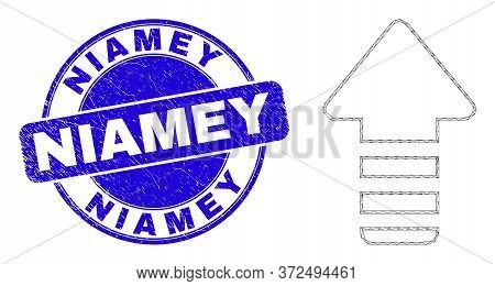 Web Mesh Update Arrow Icon And Niamey Watermark. Blue Vector Rounded Scratched Watermark With Niamey