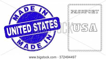 Web Mesh Usa Passport Pictogram And Made In United States Seal. Blue Vector Round Textured Stamp Wit