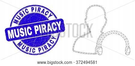 Web Mesh User Headphones Icon And Music Piracy Watermark. Blue Vector Rounded Scratched Watermark Wi