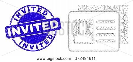 Web Carcass User Id Cards Icon And Invited Stamp. Blue Vector Round Distress Stamp With Invited Titl