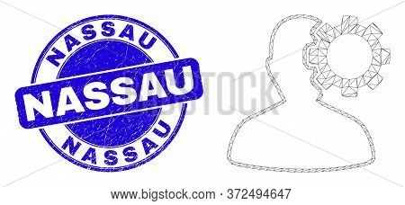 Web Carcass User Options Gear Pictogram And Nassau Seal. Blue Vector Round Scratched Seal Stamp With