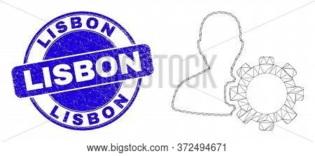 Web Carcass User Options Gear Icon And Lisbon Stamp. Blue Vector Round Textured Seal With Lisbon Cap